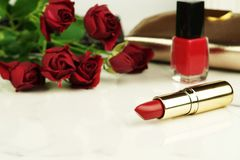 Concept pour le jour du ` s de Valentine, femmes jour, jour du ` s de mère bureau féminin, espace de travail Photographie stock libre de droits