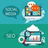 Concept pour le seo et l'application sociale de media Photos libres de droits