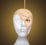 Concept of Pouring a Face Onto a Mannequin Head. Dramatic Concept of Pouring a Face Onto a Mannequin Head stock photography