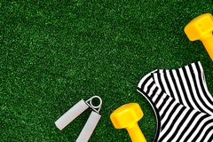 Concept preparing to fitness sports equipment top view mock up Stock Image