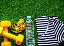 Concept preparing to fitness sports equipment top view mock up Royalty Free Stock Photo