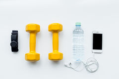 Concept preparing to fitness sports equipment top view mock up Royalty Free Stock Image