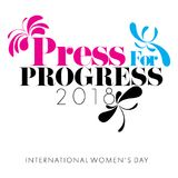 Concept of Press for Progress designed on a white background for Women`s day Stock Photo