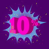 Special offer sale neon color tag. This is the concept of the price list for discounts, of an advertising campaign, advertising marketing sales, a 10 off stock illustration