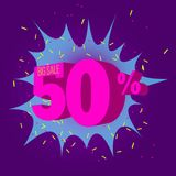 Special offer sale neon color tag. This is the concept of the price list for discounts, of an advertising campaign, advertising marketing sales, a 50 off stock illustration
