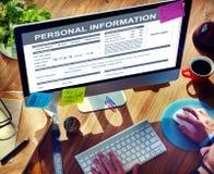 Concept privé d'identité d'application de l'information personnelle Photographie stock libre de droits