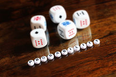 Concept of probability, small depth of field stock photo
