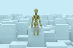 Concept of problem, doubt or loneliness. Front view of many cubes of different size with a wooden dummy sitting on one of them (3d render Stock Photos