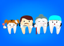 Concept problematische tanden met tandarts Grappige illustratie Stock Afbeelding