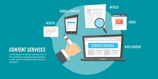 Content writing service for digital marketing success, engaging new audiences. Flat design content writing vector banner. Concept of producing digital content royalty free illustration