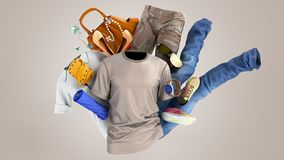 Concept of product categories clothing and accessories on grey background royalty free stock photos