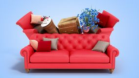 Concept of product categories furniture and decor on blue background stock image