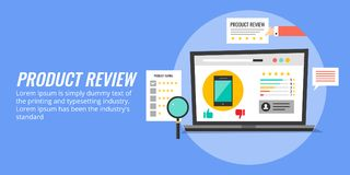 Product review - rating, user experience, feedback. Flat design concept banner. Concept of product review, customer experience of a product, rating of product Royalty Free Stock Image
