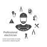 Concept of profession electrician. Repair and maintenance of ele. Ctricity. Electricity service. Electricians tools, equipment. Banner, template, logo Royalty Free Stock Photography