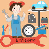 The concept of the profession mechanics. Man with big key icons. Hoist cars, wheels, tools, battery Stock Photos