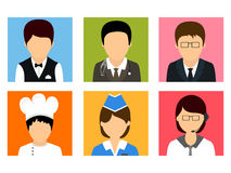 Concept of professions avatars. Colorful set of different professions avatars on white background Stock Photos