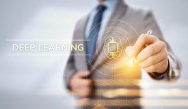 Concept profond de technologie d'intelligence artificielle d'apprentissage automatique Homme d'affaires se dirigeant sur l'?cran illustration de vecteur