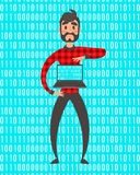 Concept of programmer superhero. Vector people illustration. Binary data code, coding on laptop. Cartoon style Royalty Free Stock Photos