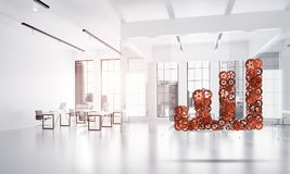 Concept of progress and income in business presented by going up arrow. Growing arrow graph made of gears and cogwheels on white office background. 3d rendering Royalty Free Stock Images