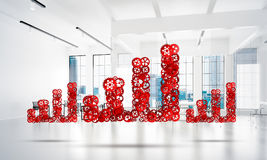 Concept of progress and income in business presented by going up arrow. Growing arrow graph made of gears and cogwheels on white office background. 3d rendering Stock Photography