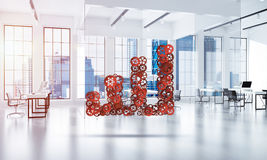 Concept of progress and income in business presented by going up. Growing arrow graph made of gears and cogwheels on white office background. 3d rendering Royalty Free Stock Image
