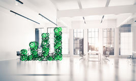 Concept of progress and income in business presented by going up. Growing arrow graph made of gears and cogwheels on white office background. 3d rendering Stock Image