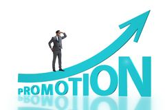 Concept of promotion with businessman royalty free stock photography