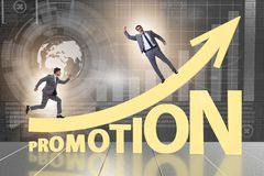 Concept of promotion with businessman stock photos