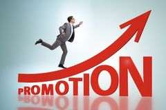 Concept of promotion with businessman royalty free stock photos