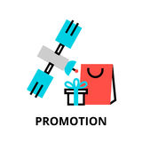 Concept of promotion and marketing process. Modern flat thin line design vector illustration, concept of promotion and marketing process, for graphic and web Royalty Free Stock Images