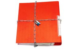 Concept of protected documents with chain and file folder Stock Image
