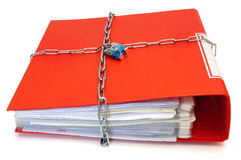 Concept of protected documents with chain and file folder Stock Images