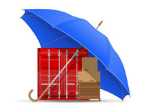 Concept of protected and insured cargo umbrella Stock Images