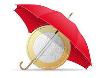 Concept of protected and insured euro coins umbrella Stock Image