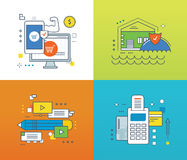 Concept - protection of payment, methods, insurance, video communications. Concept of protection of payments and transactions, insurance housing and property Stock Images