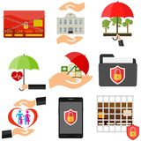 The concept of protection. Safety. The hand protects from the external environment. Flat design,  illustration Royalty Free Stock Photo