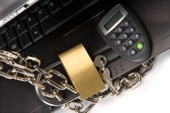 The Concept of protection to bank information Stock Photography