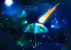 Concept of protection. Umbrella covered with texture of planet w Stock Images