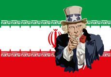 Uncle Sam symbolically pointing to Iran's trade threat. Concept of protectionism and the global economic war with the portrait of Uncle Sam in front of stock illustration