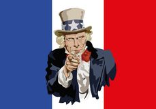 Uncle Sam symbolically designating the commercial threat of France. Concept of protectionism and world economic war with the portrait of Uncle Sam in front of stock illustration