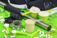 Concept with protein powder,amino acids and fish oil capsules Stock Image