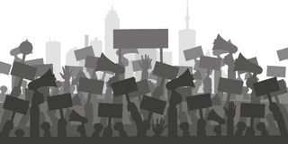 Concept for protest, revolution or conflict. Silhouette crowd of people protesters. Flat illustration stock illustration