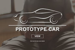Concept of prototype car. Prototype car concept illustrated by a picture on background Royalty Free Stock Photography