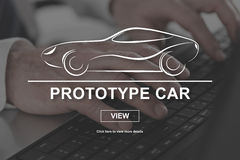 Concept of prototype car. Prototype car concept illustrated by a picture on background Stock Images