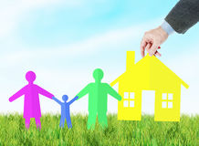 Concept of providing a young happy family with own housing Stock Photography