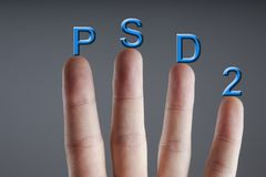 Concept of PSD2 - Payment services directive. EU directive Stock Photo