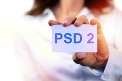 Concept of PSD2 - Payment services directive. EU directive Stock Image