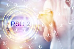 Concept of PSD2 - Payment services directive. EU directive Royalty Free Stock Images