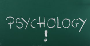Concept of psychology on chalkboard. Concept of psychology on green chalkboard Stock Photo