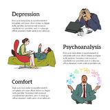 Concept psychotherapy of three illustrations Royalty Free Stock Images